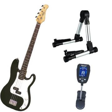 It's All About the Bass Pack-Black Kay Electric Bass Guitar Medium Scale w/Meisel COM-90 Tuner & Meisel Silver Stand