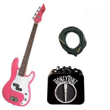 It's All About the Bass Pack - Pink Kay Electric Bass Guitar Medium Scale w/Honey tone Mini Amp w/Extra Cable