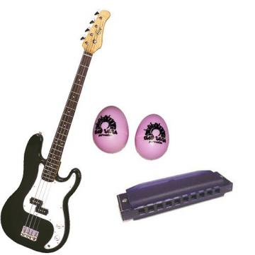 It's All About the Bass Pack-Black Kay Electric Bass Guitar Medium Scale w/Pink Egg Shakers & Purple Harmonica