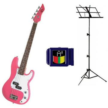 It's All About the Bass Pack-Pink Kay Electric Bass Guitar Medium Scale w/Son of Snark Tuner & Black Music Stand
