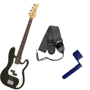 It's All About the Bass Pack - Black Kay Electric Bass Guitar Medium Scale w/Blue String Winder & Black Strap