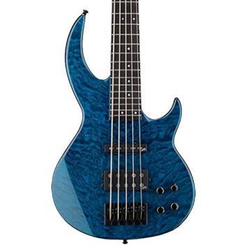 ESP LBB1005QMBLKAQ-KIT-2 Bunny Brunel Signature Series BB-1005 QM 5-String Electric Bass, Black Aqua
