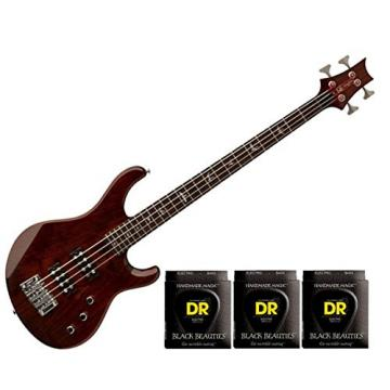 PRS SE Kingfisher Electric Bass Guitar - Tortoise Shell w/3 Sets DR Strings BKB-45