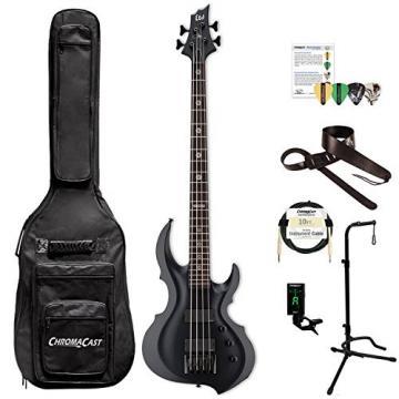 ESP LTA604FRXBLKS-KIT-1 Tom Araya Signature Series 604FRX Electric Bass, Black Satin