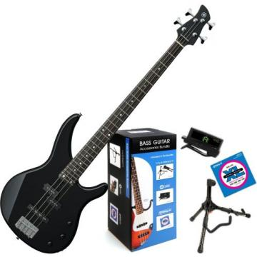 Yamaha TRBX174 BL TRBX-174 Black 4 String Bass Guitar w/ Daddario Bass Accessory Bundle