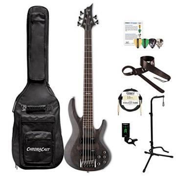 ESP LB205SMSTBLKS-KIT-1 B Series B-205SM 5-String Electric Bass Guitar, See Thru Black Satin