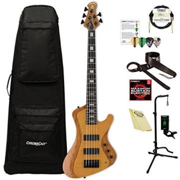 ESP LSTREAM1005FMHN Stream Series 5-String Solid Flamed Maple Top Electric Bass, Honey Natural
