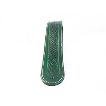 "LeatherGraft Emerald Green Genuine Leather Celtic Knot Texas Swirl Pattern Design 2"" Wide Guitar Strap"
