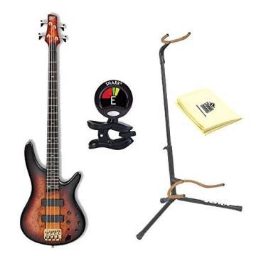 Ibanez SR800 4-String Electric Bass Guitar in Aged Whiskey Burst Finish with Ultra 2445BK Basic Guitar Stand, Snark SN5X Clip-On Tuner and Custom Designed Instrument Cloth