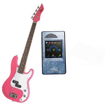 It's All About the Bass Pack-Pink Kay Electric Bass Guitar Medium Scale w/Snark Touch Screen Metronome (Light Blue)