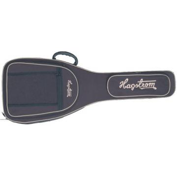 Hagstrom Viking model: black w/ beige logos - 2 pockets, handle & double shoulder straps.