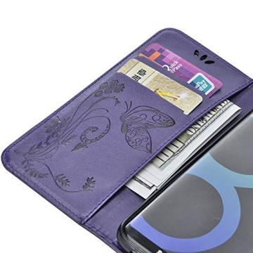 Galaxy S8+ Plus Cases Cover, Bonice 3 in 1 Accessory PU Leather Flip Practical Book Style Magnetic Snap Wallet Case with [Card Slots] [Hand Strip] Premium Multi-Function Design Cover, Purple