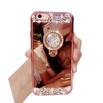 iPhone 6S Plus, iPhone 6 Plus Case, Bonice Luxury Crystal Rhinestone Soft Rubber Bumper Bling Diamond Glitter Mirror Makeup Case with Ring Stand Holder for iPhone 6s Plus / 6 Plus - Rose Gold