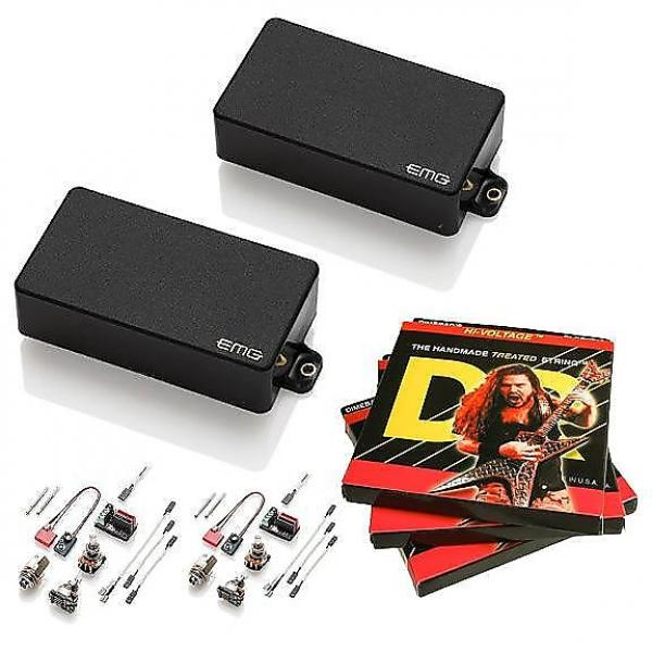 Custom EMG-85 and 81 Active Pickup Set, Black, w 3 sets DR Dimebag Hi-Voltage 9-46