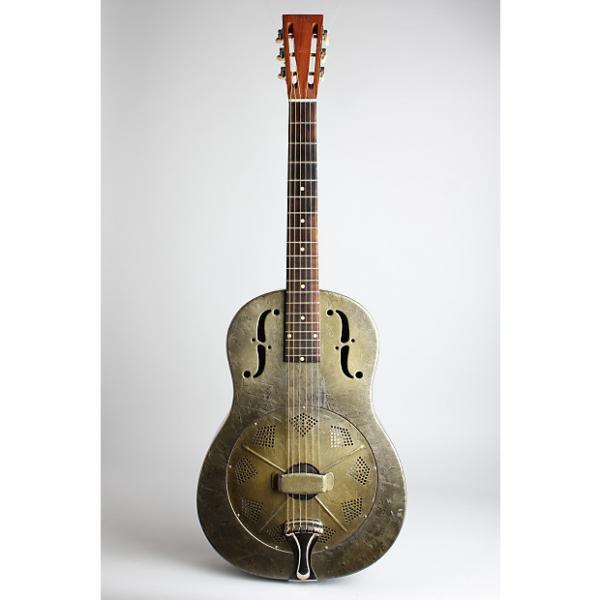 Custom National  Duolian Resophonic Guitar (1933), ser. #C-7251, brown hard shell case.