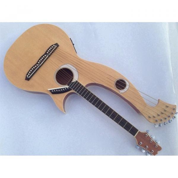 Custom Shop 6 6 8 String Acoustic Electric Double Neck Harp Guitar