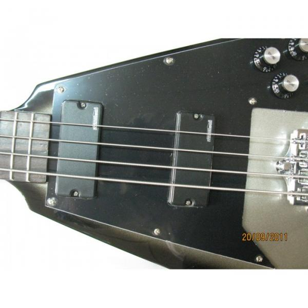 Custom Shop guitarra Silver Burst Flying V Electric Bass