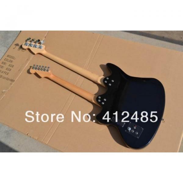 Custom Built Double Neck Fender Jaguar Sunburst 4 String Bass 6 String Guitar