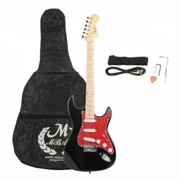 ST3 Pearl-shaped Pickguard Electric Guitar Black with Bag Strap Tool Pick