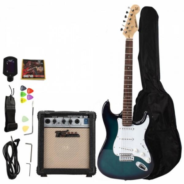Rosewood Fingerboard Electric Guitar with Amp Turner Bag & Accessories Blue