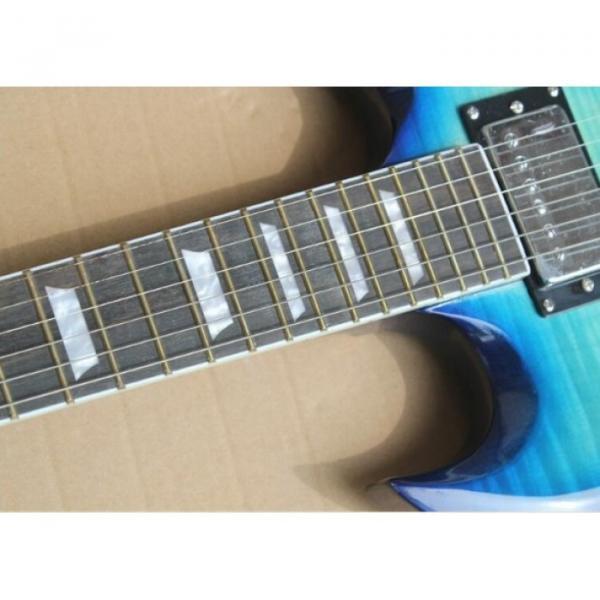 Custom Shop SG Blue Tiger Maple 6 String Electric Guitar