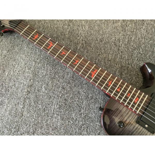 Custom Paul Reed Smith Gray Burst Flame Maple Top Electric Guitar Red Bindings