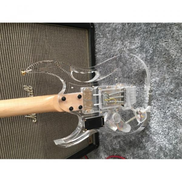 Custom Ibanez Acrylic Whale Blue Led Light Fretboard Electric Guitar