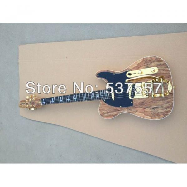 Custom Shop Telecaster Tremolo Natural Wood Gold Hardware Electric Guitar