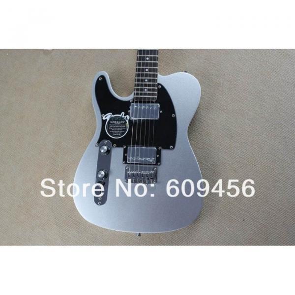 Custom Fender Left Handed Slick Silver Telecaster Blacktop Electric Guitar
