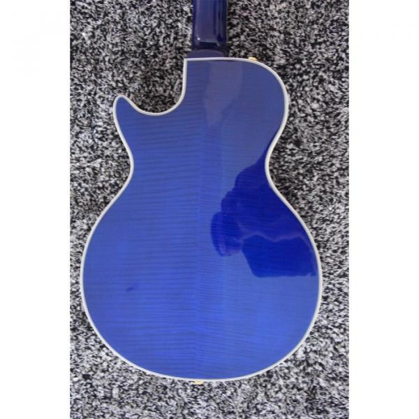 Custom Built Blue Tiger Maple Top LP 6 String Electric Guitar Semi Hollow