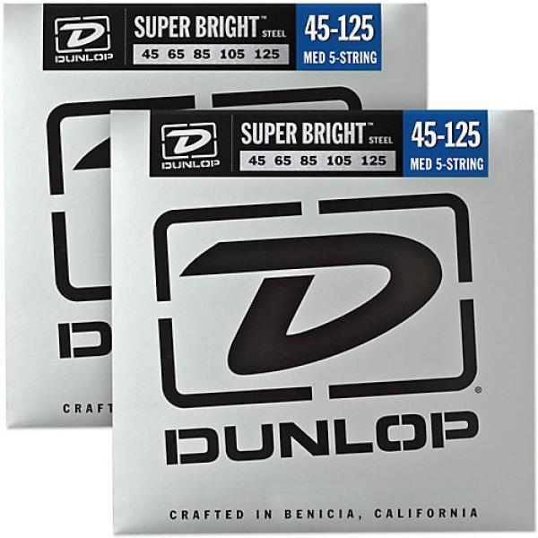 Dunlop Super Bright Steel Medium 5-String Bass Guitar Strings (45-125) 2-Pack