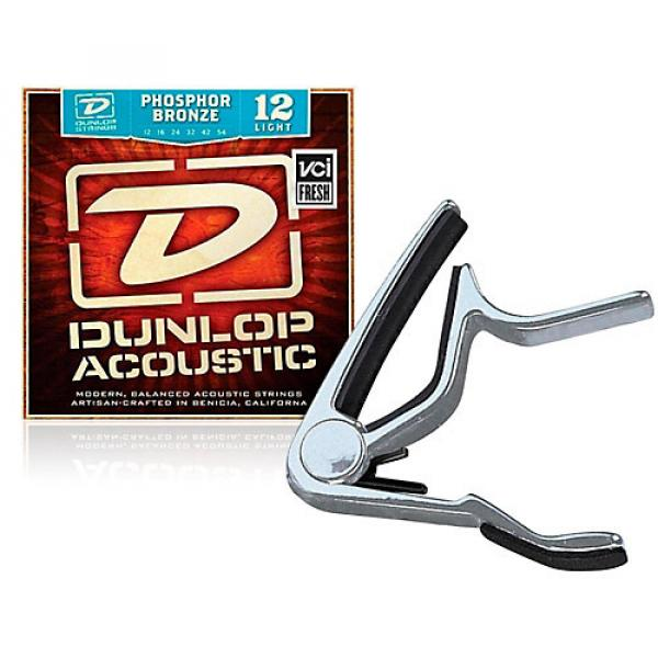 Dunlop Trigger Flat Nickel Capo and Phosphor Bronze Light Acoustic Guitar Strings