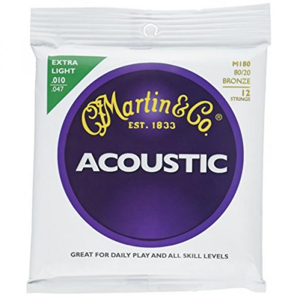 Martin M180 80/20 Bronze 12-String Acoustic Guitar Strings, Extra Light