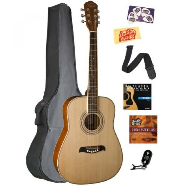 Oscar Schmidt OG1 3/4-Size Left-Handed Dreadnought Acoustic Guitar Bundle with Gig Bag, Austin Bazaar Instructional DVD, Clip-On Tuner, Strap, Strings, Picks, and Polishing Cloth - Natural