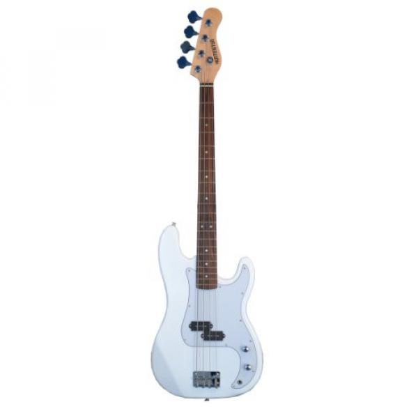 Full Size 4 String Precision P Electric Bass Guitar WHITE with Gig Bag and Accessories (Includes, Strap, String, & DirectlyCheap(TM) Translucent Blue Medium Guitar Pick)