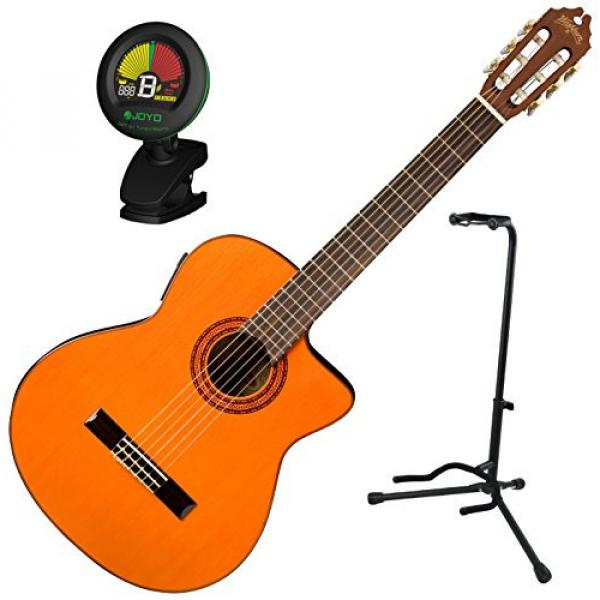 Washburn C5CE Classic Style Acoustic Electric Nylon-String Guitar w/ Stand and Tuner