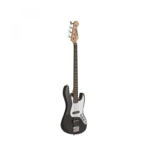 Fever 4-String Electric Jazz Bass Style with Gig Bag, Clip on Tuner, Cable and Strap, Color Black, JB43-BK